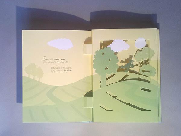 Livre pop-up Le bonheur est dans le pré, page 2, diorama