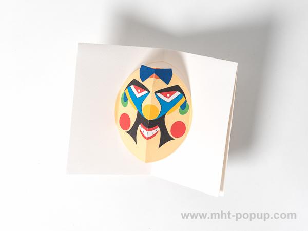 Carte Masque du Vietnam, modèle Grosses moustaches, intérieur vu de dessus