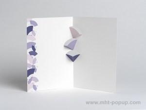 Carte kirigami Eventails avec frise dessinée mauve, face