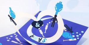 Carte pop-up spirales combinées motifs mariage