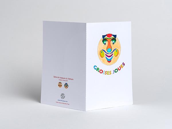Carte Masque du Vietnam Grosses joues, DIY à colorier soi-même, dos carte coloriée