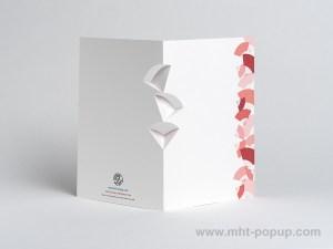 Carte kirigami Eventails avec frise dessinée rouge, dos
