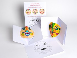 Cartes pop-up Masques du Vietnam en DIY, vue des différents modèles