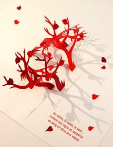 Carte pop-up Arbres croisés Automne rouge avec poème