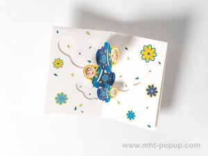 Carte de vœux Matriochkas modèle bleu, intérieur vue de dessus