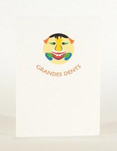 Carte Masques du Vietnam, Grandes dents, recto carte pliée