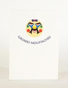 Carte Masques du Vietnam, Grosses moustaches, recto carte pliée