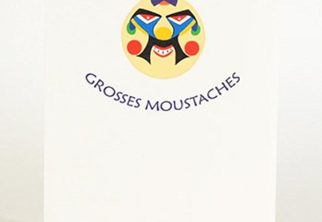 Carte pop-up Masques du Vietnam, modèle Grosses moustaches, recto de la carte pliée