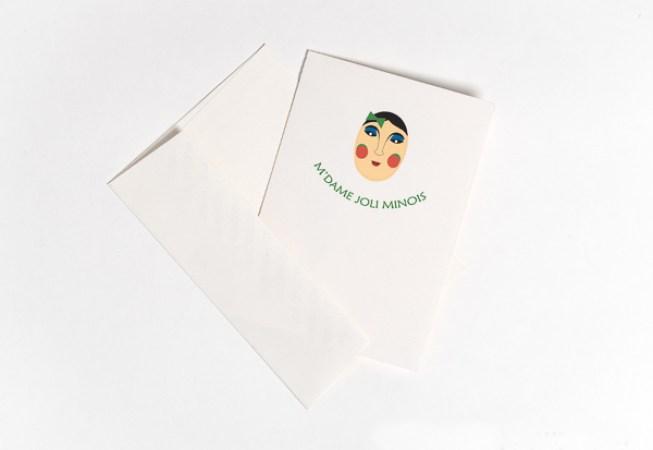Carte pop-up Masques du Vietnam, modèle M'dame Joli minois, carte avec enveloppe