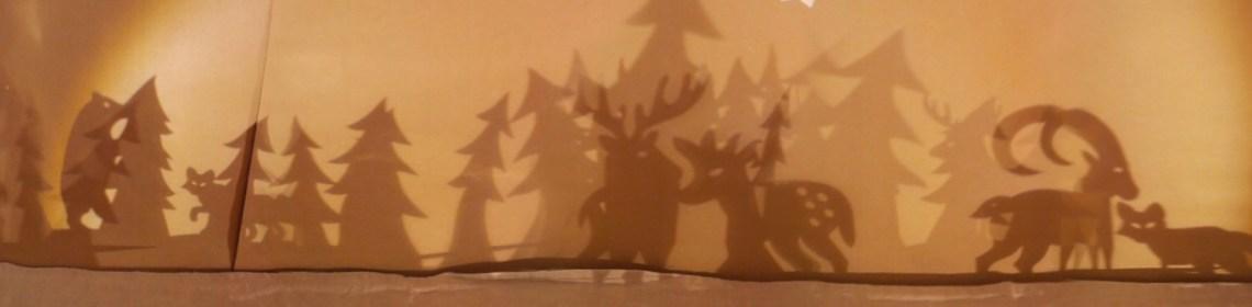 Ombres projetées des décorations de table et saynètes animalières, Noël 2016