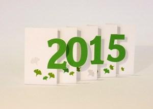 Carte de voeux 2015 MHT Pop up, papier découpé en accordéon, modèle Ginkgos verts
