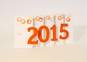 Carte de voeux 2015 MHT Pop up, papier découpé en accordéon, modèle Art déco orange