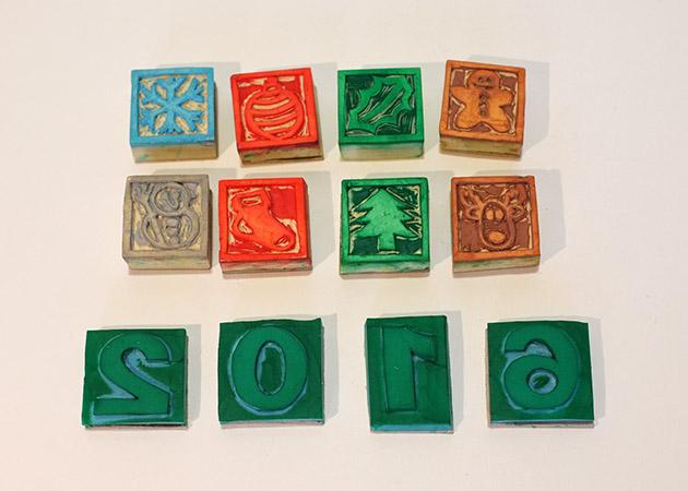 Carte de vœux 2016 kirigami, tampons motifs Noël utilisés pour la réalisations des cartes