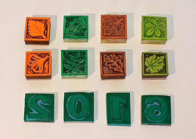 Carte de vœux 2016 kirigami, tampons motifs Arboriculture utilisés pour la réalisations des cartes