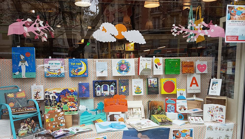 Vitrine librairie Le Divan jeunesse, Paris 15e