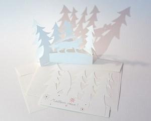 Cartes de vœux en papier découpé motifs Ours et Renard avec sapins, lot de 2 cartes