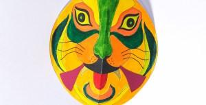 Carte pop-up Masques du Vietnam en DIY, modèle colorié Tigrrrou