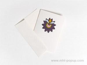 Carte pop-up Fleur avec abeille, violet, carte avec enveloppe