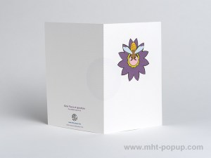 Carte pop-up Fleur avec abeille, violet, dos carte