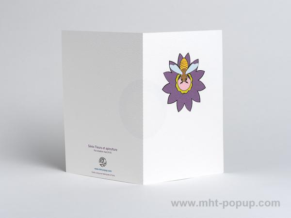 Carte pop-up Fleur avec abeille, violet, dos carte