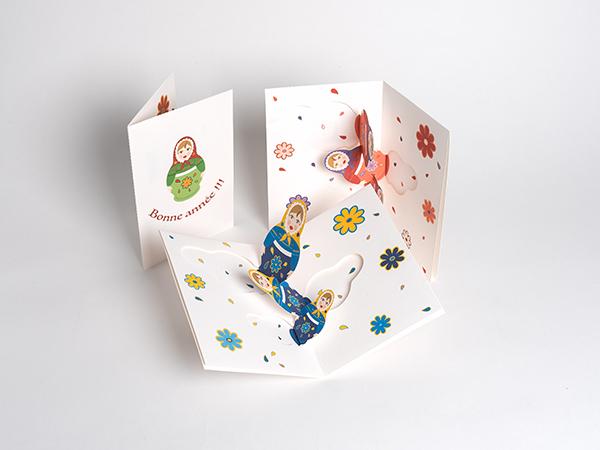 Carte de vœux Matriochkas, vue d'ensemble