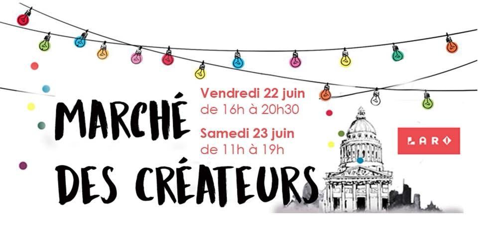 Flyer pour les créations de L.A.R.O. - marché créatif, 1ère édition juin 2018