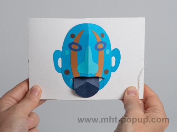 Livre d'artiste accordéon Masques pop-up, tire-la-langue, bleu