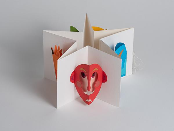 Livre d'artiste accordéon Masques, livre plié en étoile