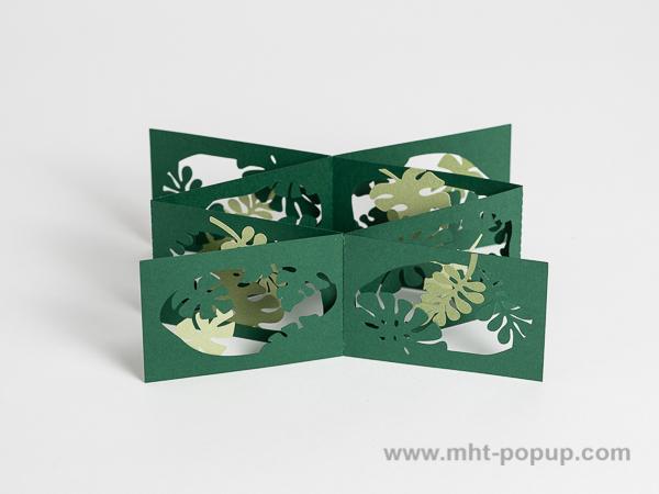 Livre d'artiste double accordéons croisés Jungle, vue de dessus du livre déplié dans la largeur