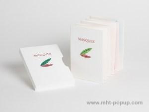 Livre d'artiste accordéon Masques, livre avec étui