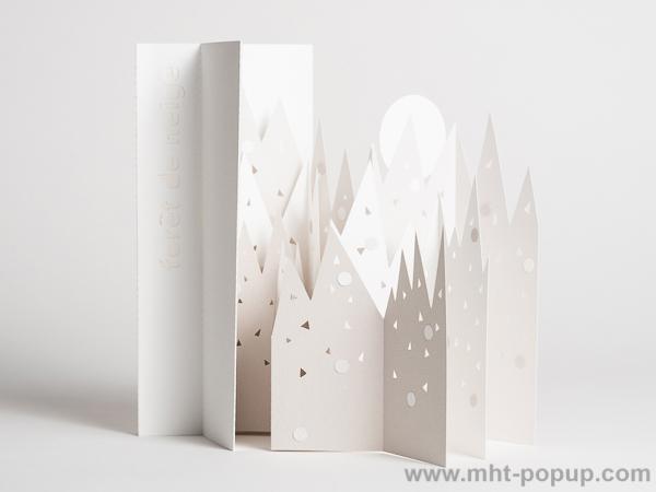 Livre d'artiste pages accordéon, Forêt de Neige, vue du livre ouvert avec les pages dépliées