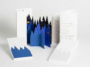 Livres d'artiste pages accordéon, Forêt Neige et Nuit, vue d'ensemble