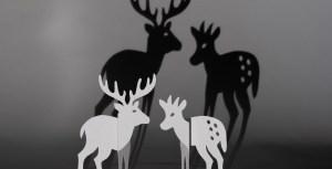 Saynète animalière d'hiver Cerf-Faon avec ombres projetées
