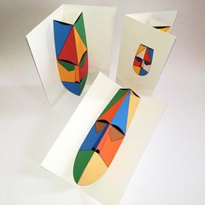 Cartes pop-up Masques d'Afrique, vue d'ensemble avec les 3 modèles