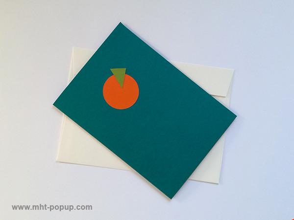 Carte pop-up Spirale motifs abstraits, riviera blue-orange, repliée avec enveloppe. Pièce unique signée