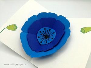 Carte pop-up Pavot bleu, vue détaillée de la carte ouverte et des motifs intérieurs