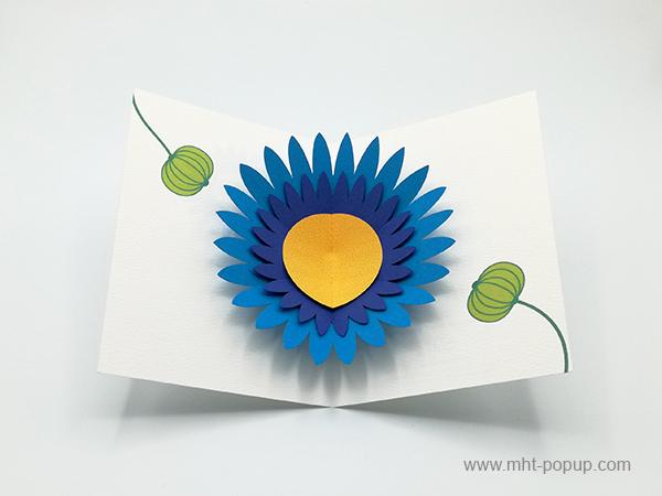 Carte pop-up Marguerite bleue, vue de dessus de la carte ouverte et des motifs intérieurs