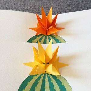Cartes Fleur de cactus Etoile, jaune et orange