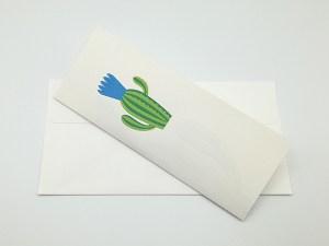 Carte pop-up Fleur de cactus, modèle fleur en éventail bleu avec enveloppe