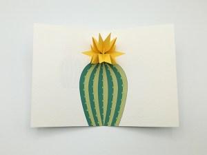 Carte pop-up Fleur de cactus, modèle étoile jaune, vue de dessus