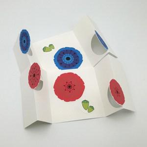 Cartes à volets, motifs de pavots et coquelicots, vue d'ensemble des 2 variantes