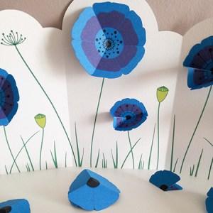 Frise décorative avec fleurs de Pavot bleu