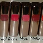 L'Oreal Paris Color Riche Moist Matte Lipstick Swatches, Price in India