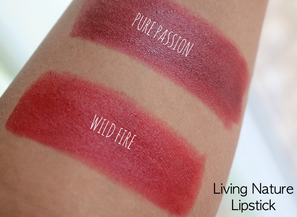 Living Nature Organic Lipstick Wild Fire, Pure Passion Swatches