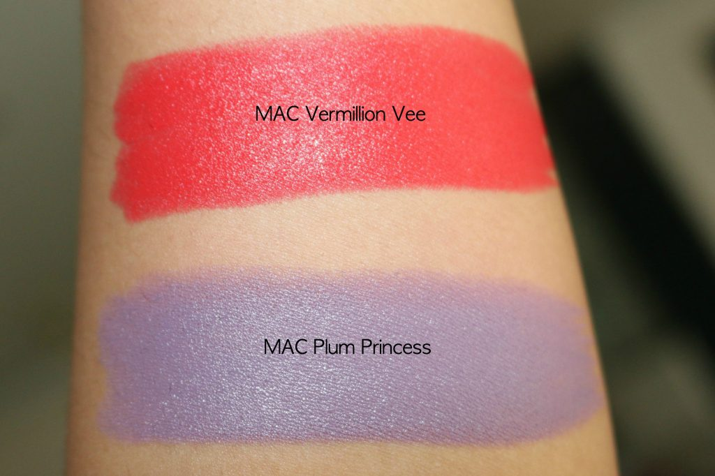 mac chris chang lipstick vermillion vee, plum princess swatches