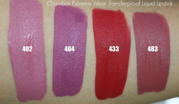 chambor extreme wear transferproof liquid lipstick swatches
