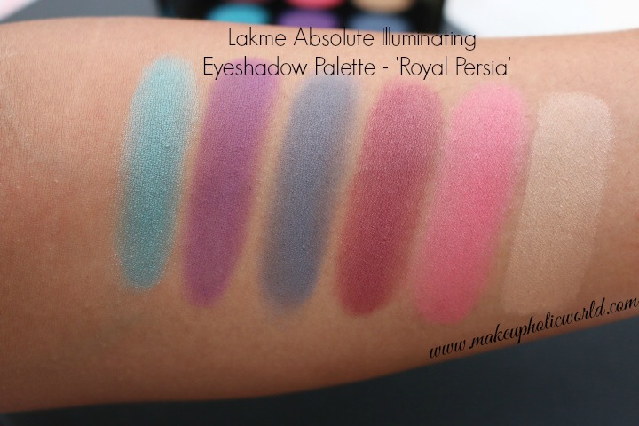 Lakme Absolute Illuminating Eyeshadow Palette - Royal Persia swatches