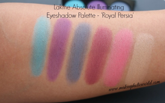 Swatches - Lakme Absolute Illuminating Eyeshadow Palette - Royal Persia (without flash)