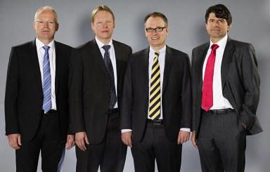 The BEUMER Group management: (from left to right) Dr. Hermann Brunsen, Dr. Detlev Rose, Dr. Christoph Beumer (Chairman) and Norbert Hufnagel.