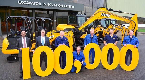 Big milestone celebrated as 100,000th JCB Mini Digger produced